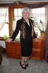 A Woman At Last! (Laurette Victoria) Tags: suit skirt laurette woman scarf silver jacket