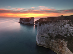Old Harry Rocks, Handfast Point, Dorset. (MelvinNicholsonPhotography) Tags: oldharryrocks studland purbeck dorset sunrise red sky rocks cliffs chalk water ocean sea leefilters gitzo manfrotto mindshift melvinnicholsonphotography jurassiccoast stumps stack seastack