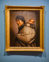 Ana Reupene Whetuki and Child (Steve Taylor (Photography)) Tags: gottfriedlindauer anareupenewhetukiandchild maori moko art painting picture portrait blue brown lady woman child baby toddler newzealand nz southisland canterbury christchurch city shiny shadow