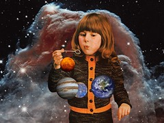Girl Blows the World (Fierceham) Tags: blows digitalcollage collage planets space blowing blow girl bubbles