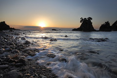 Daybreak (memories of time) Tags: japan shizuoka minamiizu izu sun sky morning sea wave rock shore beach ose sunrise