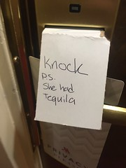 knock  p.s. she had tequila (timp37) Tags: sign door illinois november 2016 schaumburg days dead marriott hotel knock she had tequila ps