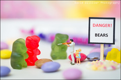 DANGER! Gummy Bears (Pikebubbles) Tags: smallworld itsasmallworld toys toy toyart thelittlepeople littlepeople macro miniature miniatureweekly miniatures miniart miniatureart creative fineartphotography myartbroker sweets stopplayingwithyourfood figurine figurines