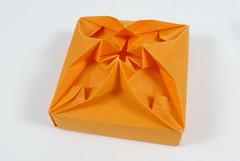 One-part Box with Two-in-one Flower Tesselaltion (Michał Kosmulski) Tags: origami box tato tessellation twoinone 2in1 flower tantpaper michałkosmulski orange smileonsaturday vividorange