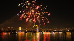 Odaiba Winter Fireworks (olympicintokyo) Tags: december 2016 winter tokyo rainbow bridge fireworks christmas illuminations