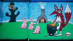 Barbecuing Fox, Bunnies Wait for Carrot (Dennis Valente) Tags: 5dsr usa muralist building art contemporaryurbanart 2016 seattle paint painter ballard henry artist 32bit ryanhenryward streetart pnw washington wall mural isobracketing hdr