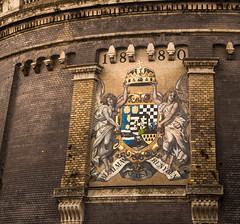 Glowing  / Explored / (gabi_halla) Tags: outdoor architecture painting art angels crown brick wall old aged hungary nation glow glowing gold sublime majestic monchrome crest history historical