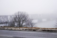 Dreary mornings of November (beyondhue) Tags: ottawa river prince wales bridge fog foggy road parkway beyondhue fall autumn weather ontario quebec canada tree steel frame disappear