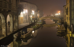On the Bridge (Franco Beccari) Tags: bridge canal chioggia nightlights reflections nikon vacation color colour holiday trip travel tourism red yellow green blue black white world europe city photography nikkor d600 nikond600 veneto nist italy