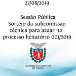 Sessão Pública - Sorteio da subcomissão técnica para atuar no processo licitatório 001/2019